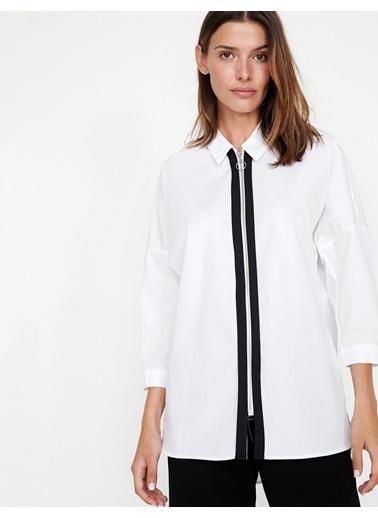 Koton Fermuarlı Gömlek Beyaz